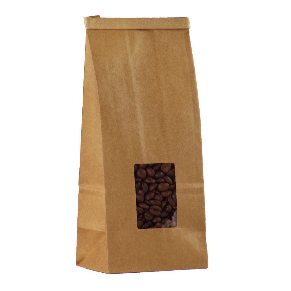 Food Packaging Printing Flat Bottom Resealable Coffee Bag With Valve Kraft Paper Product