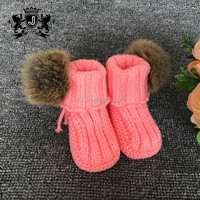 Factory-direct selling rabbit fur ball crochet soft baby kids shoes
