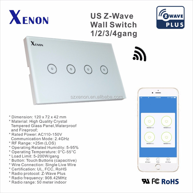 xenon zwave wall switch wifi light switch socket touch screen controller box light plug