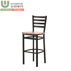 Black Color Metal Legs Wood Seat School Restaurant Dining Bar Stool
