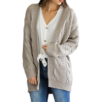 2018 Latest Design Winter Casual Fashion Gray Loose Long Sleeve Knitted Sweater Woman
