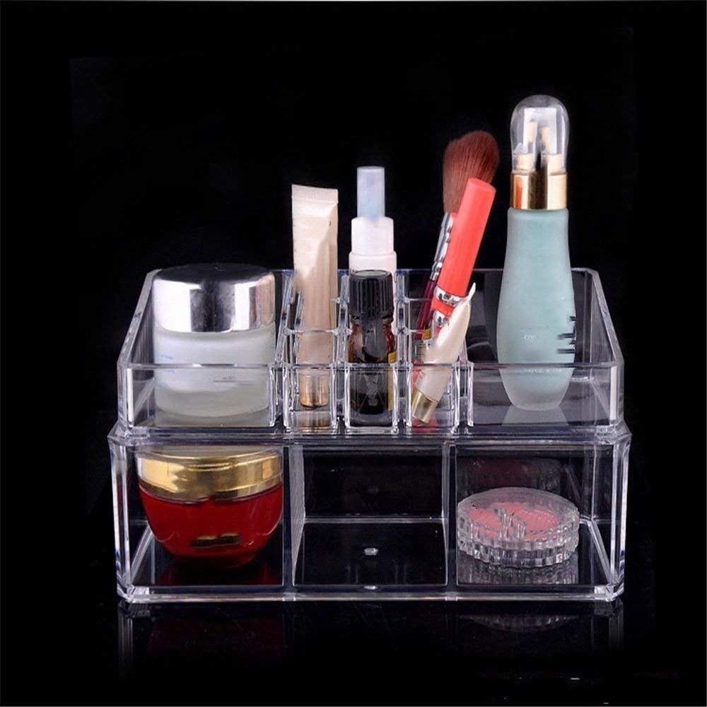 ZQ Acrylic transparent plastic stationery/cosmetics/small items multi-grid storage box