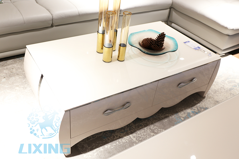 Modern Wooden Tea Table Glass Top Coffee Teapoy Center ...