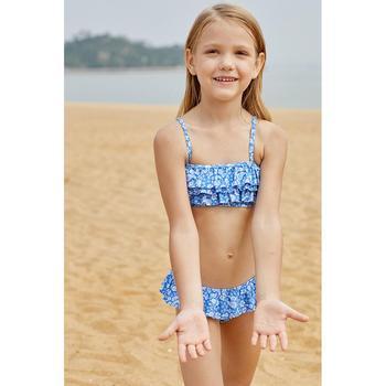 06251bd98e6 Children's Split Swimsuit Girls Print Multilayer Wrinkle Swimsuit Spa  Resort Kids Bikini beachwear