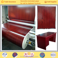 wood grain printing pu coated decorative covering paper factory price cold laminated for mdf furniture