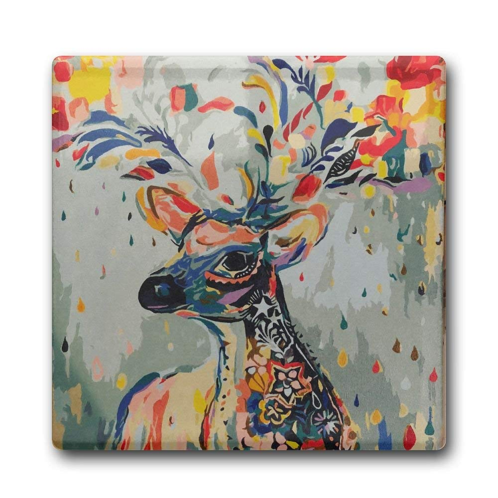 MOLIAN Flower Deer Fashion Square Ceramic Coffee Drink Coasters, Waterproof Non Slip Cup Mats Coasters For Bar