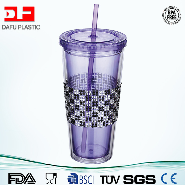 d875bd5df6a 20oz custom printed plastic cup clear double layer printing cup with straw