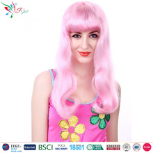 wholesale china manufacturer synthetic fibre pink curly wig