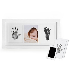 Solid Oak Wood Baby Photo Frame with Baby Hand Print Kit Ink Baby Foot Print Picture Frame