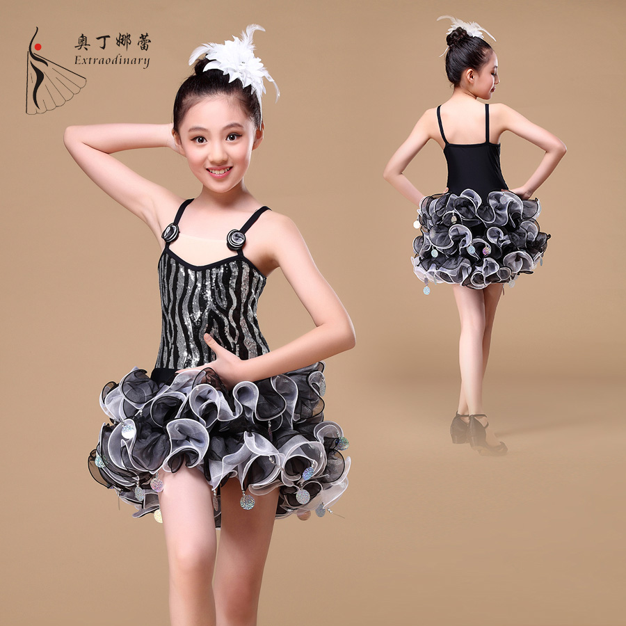 2016 latin dance kid tutu dress