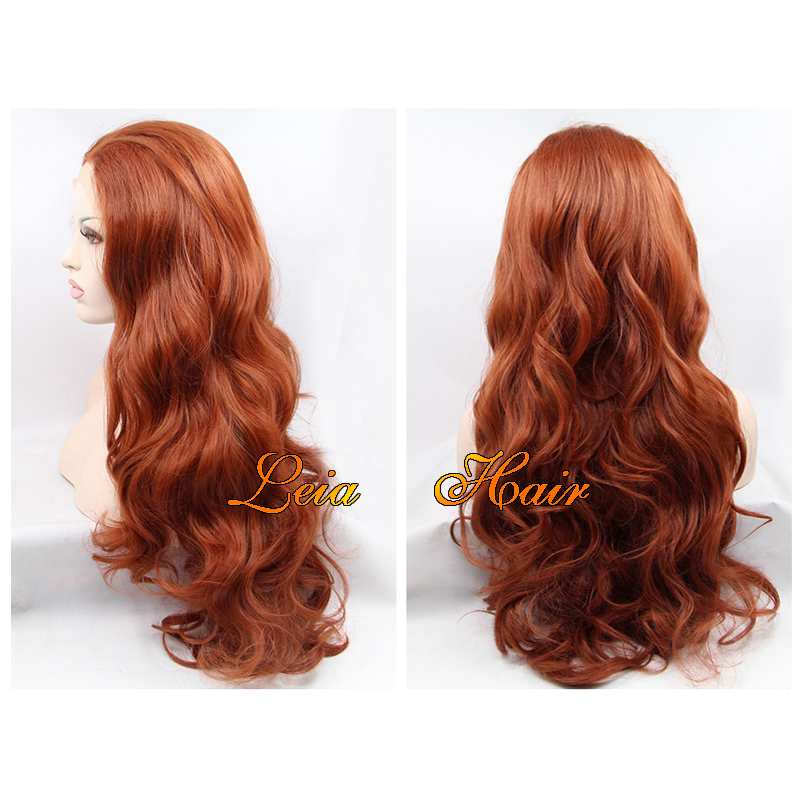 Long Wavy Copper Red Wig Synthetic Lace Front Wig Heat Resistant Kanekalon Hair Glueless Low Price Wavy Copper Red Wig For Women