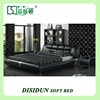 Queen Size Black PU Pushable Wood Frame Cheap Wooden Bed