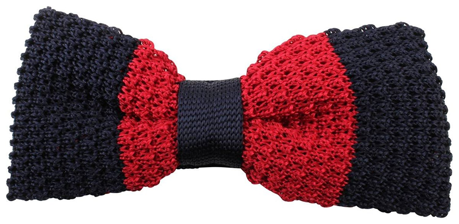 9108640ad080 Get Quotations · Knightsbridge Neckwear Mens Bold Striped Knitted Bow Tie -  Navy/Red