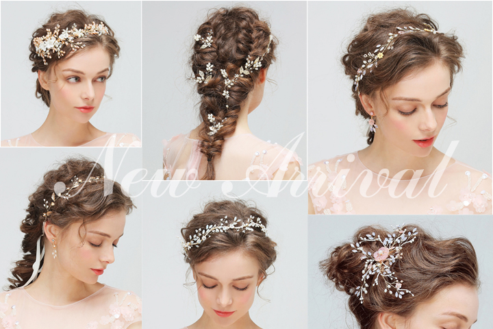Handmade Bridal Hair Ornaments White Resin Stones Crystal Beads Bridal Headpiece Wedding Belt Rose Gold Color Hair Vine