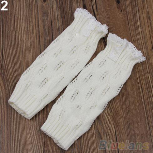 Дети девушки крючком вязаные ботворезы лист кружевной отделкой манжеты гетры загрузки носки 25E9