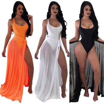 WA8596 Hot sale solid one piece beachwear with cover up