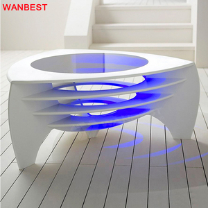 Luxury Led Acrylic Glass White Office Home Living Room Coffee Table Modern Tea Table Design