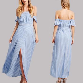 ノースリーブ青と白のストライプのドレスオフショルダーラップ全身マキシドレス