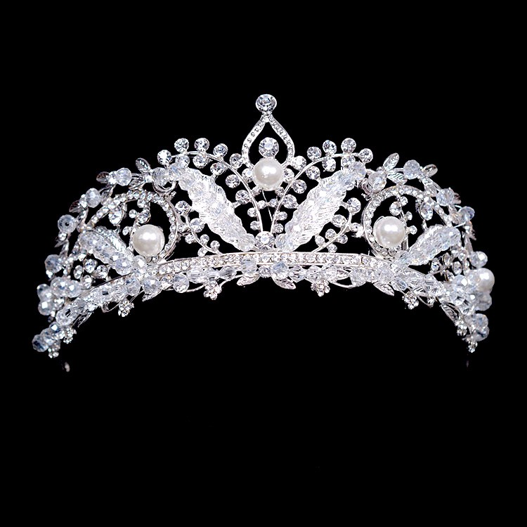 Silver Leaf Pearl Bridal Crowns Veil Tiaras Wedding Hair Accessories Prom Hair Jewelry Bridal Headpiece Prom Crown