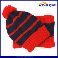 HZM-13555 Newest design pompom winter red knitting crochet hat and scarf