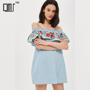 d12ab492108ba Denim blue embroidered new pattern clothes off shoulder short jeans dress  women