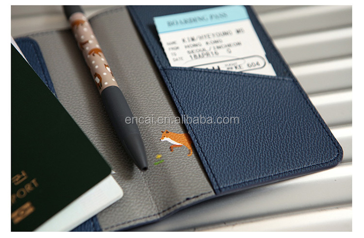 Encai Travel PU Passport Cover With Card Slots Unique Pattern Tickets Passport Holder