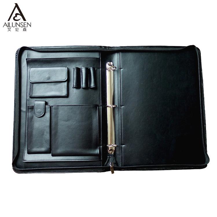 Business Zipper Portfolio A4 Leather Conference Folder For Document Organizer Bag