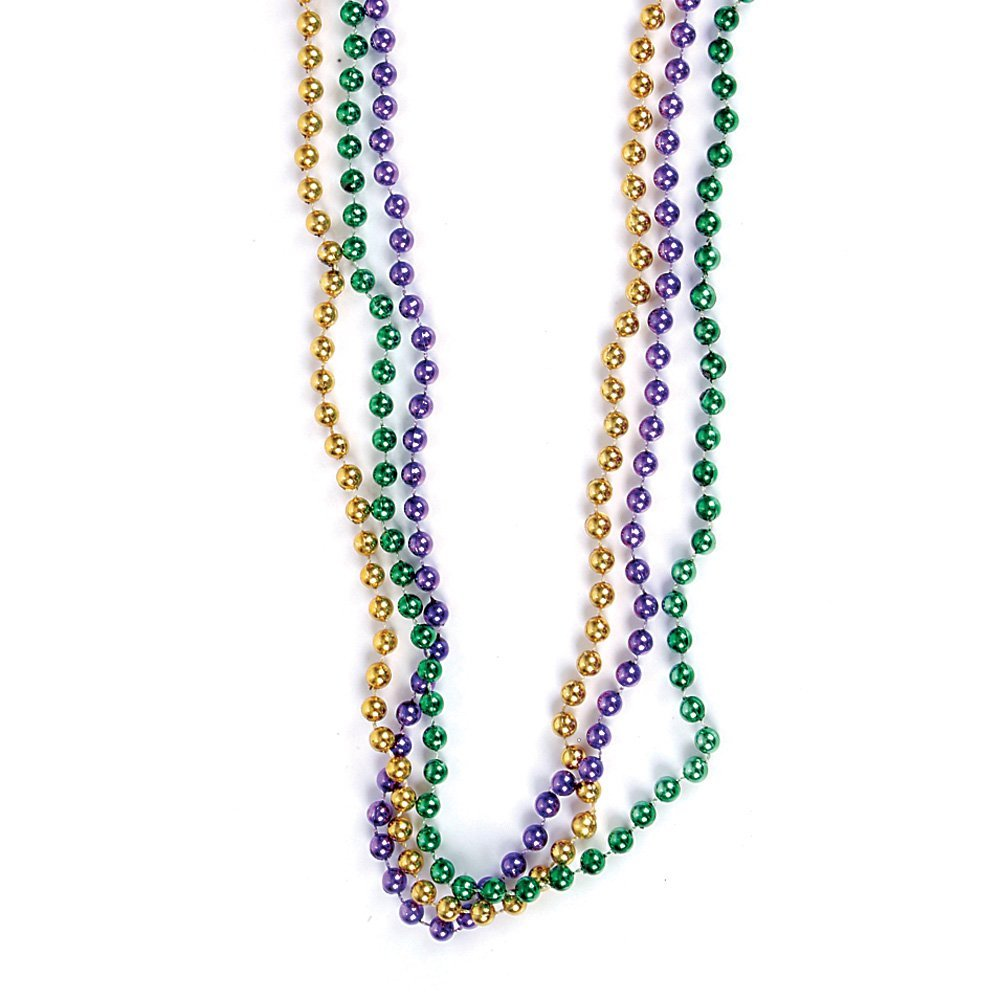 """12 ~ Mardi Gras Beaded Necklaces ~ Approx 33/"""" ~ Plastic Beads ~ New ~ Party Fav"""