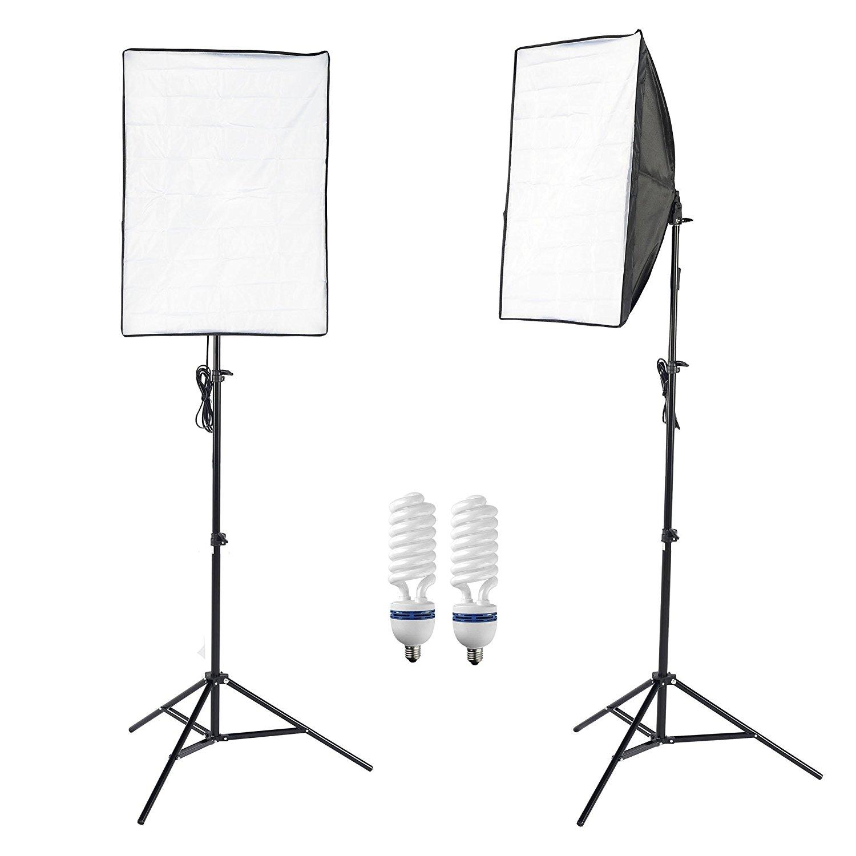 "PMS Photography 20""X28"" Softbox 80W Lamp Bulb Light Continuous Lighting Kit Photo Video Studio Equipment 50X70 CM Soft Box Stand Set"