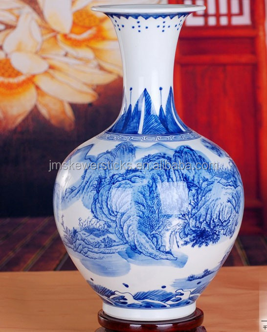 Jingdezhen unique white and blue ceramic vase for home decor