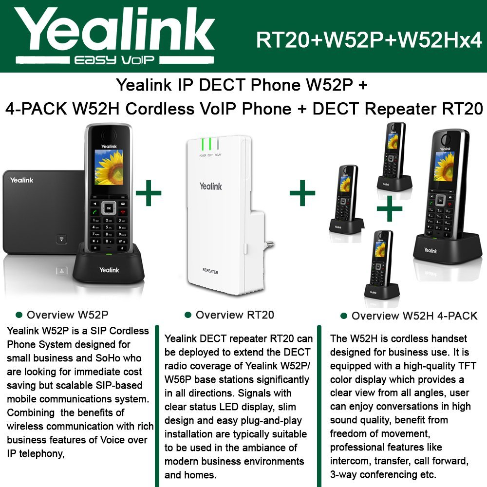 Yealink W52P IP DECT Phone + 4PACK W52H Cordless VoIP Phone + DECT Repeater RT10