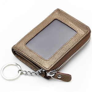Korean version wholesale coin bag zipper genuine leather card holder wallet multifunctional cowhide unisex high quality