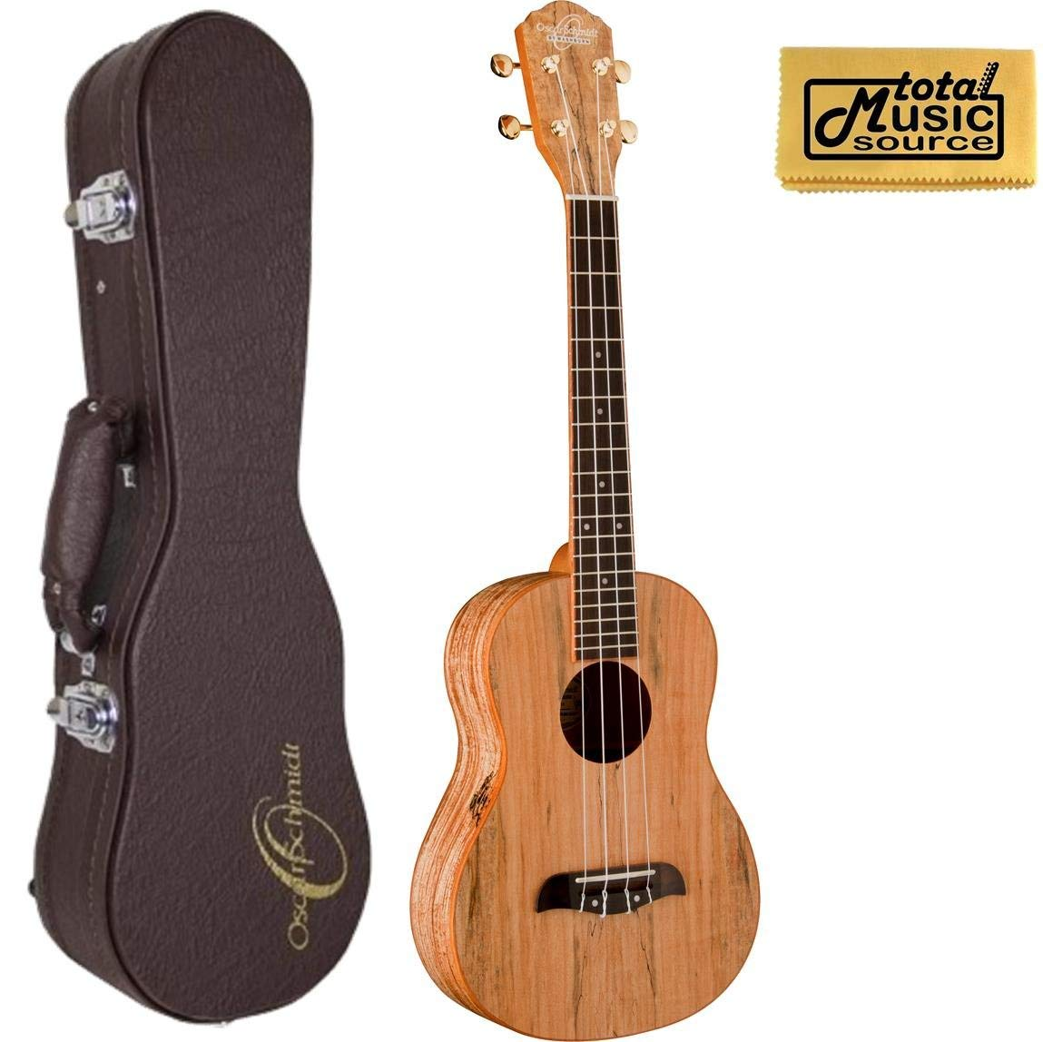 Oscar Schmidt OU8T Tenor Ukulele, Spalted Maple Top, Back and Sides,w/Hard Case & PC, OU8T UC4
