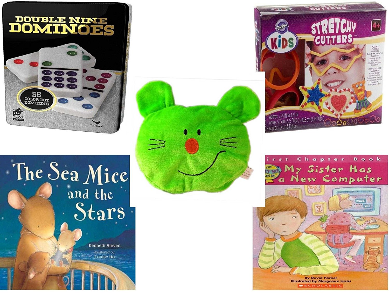 """Children's Gift Bundle - Ages 3-5 [5 Piece] - Double 9 Color Dot Dominoes Game - Wilton Kids Stretchy Silicone Cookie Cutter Set, 10-Piece - Plush Appeal Bright Green Kitty Cat Face Plush 5"""" - Sea M"""