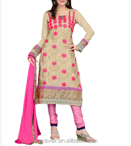 Indian clothing wholesale ladies printing salwar kameez georgette beige straight Suit indian clothing types