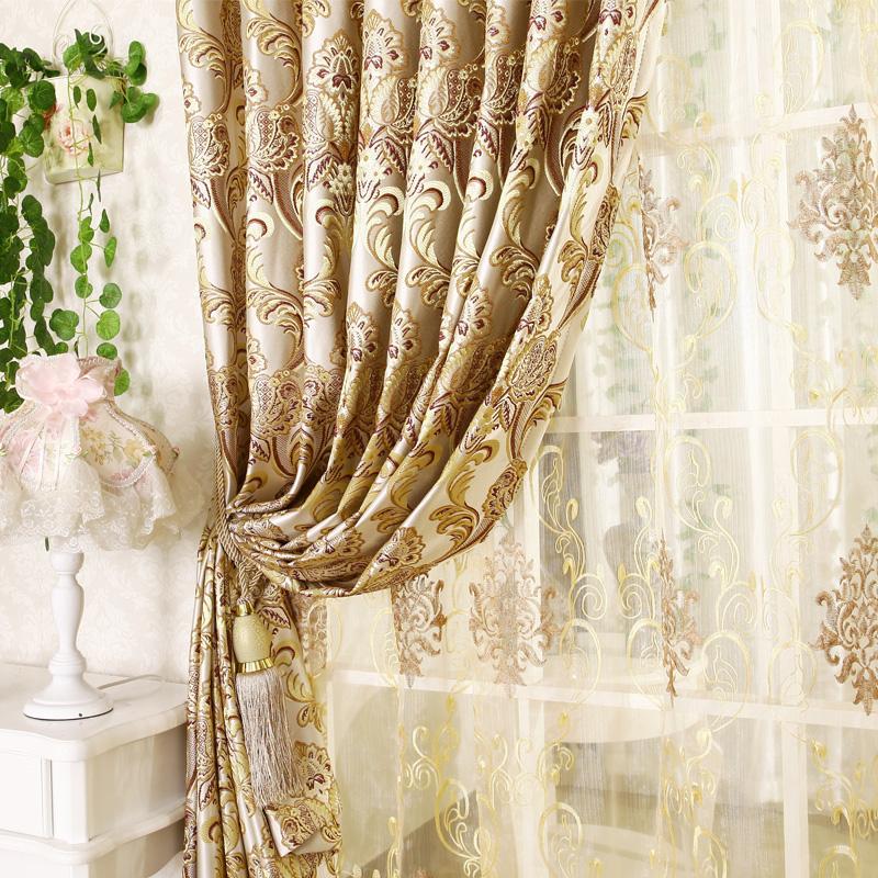 Qualité mode jacquard rideau de luxe pour le salon