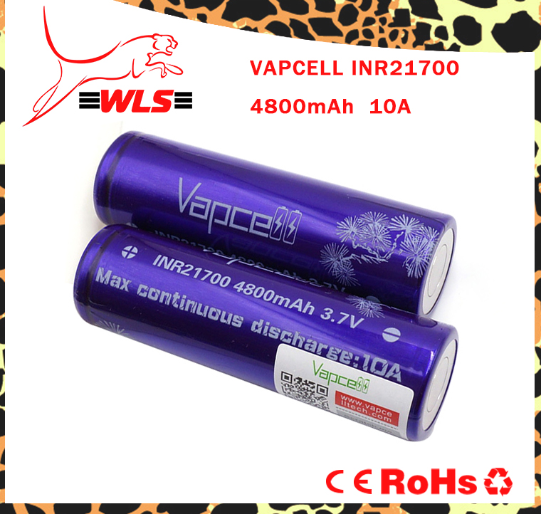 New product!!! Vapcell 21700 4800mAh 10a rechargeable battery high capacity for vape