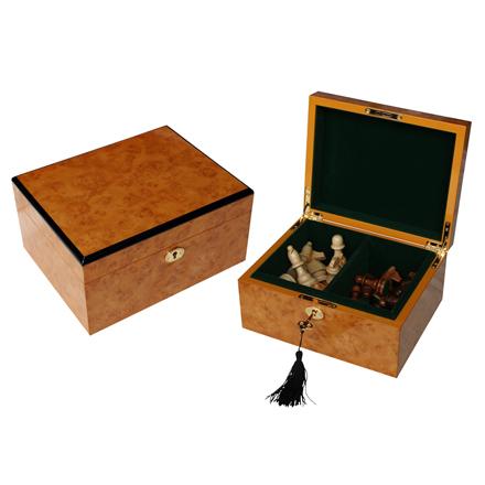 Özelleştirilmiş yüksek kaliteli ahşap satranç adet kutusu 3.5 inç dama depolama
