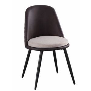 modern dinging room chair with leather back and metal legs