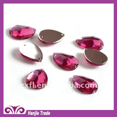 Wholesale Teardrop flat back sewing acrylic rhinestone with two holes