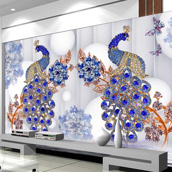 Chinese Style Crane And Pain Tree 3d Wallpaper Wall Mural For