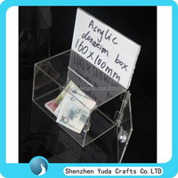clear fund raising collection box for money, transparent ballot box custom locking acrylic donation box with door from China