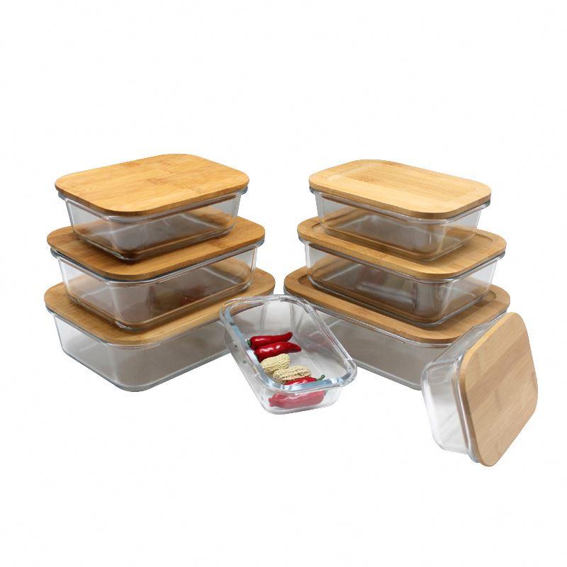 Boîte de rangement de cuisine en verre à haute teneur en borosilicate avec couvercle en bambou naturel