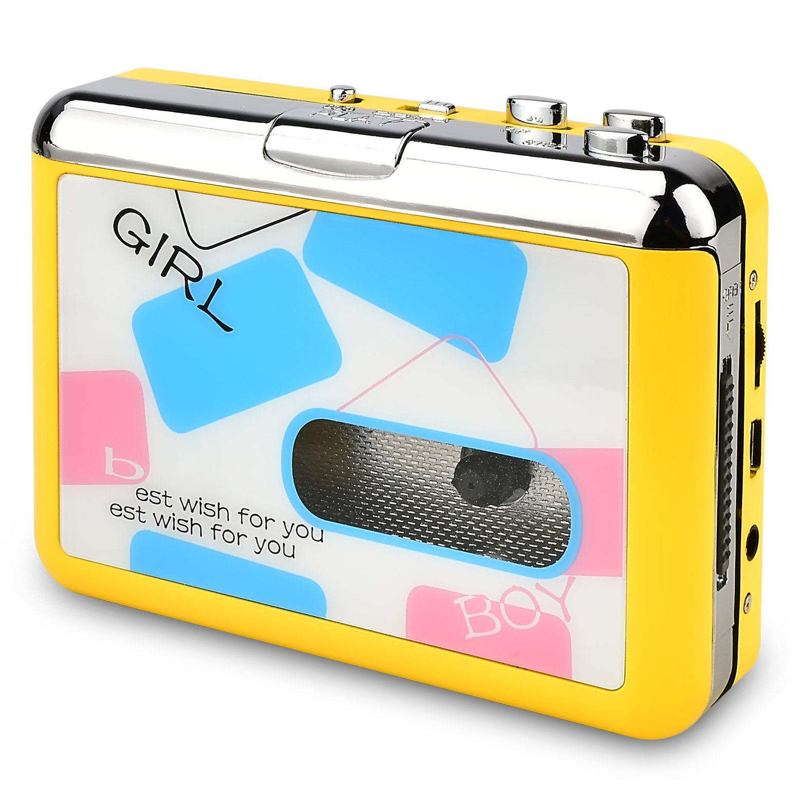 DIGITNOW Cassette Player-Cassette Tape To MP3 CD Converter Via USB,Portable Cassette Tape Converter Captures MP3 Audio Music,Convert Walkman Tape Cassette To MP3 Format (yellow)