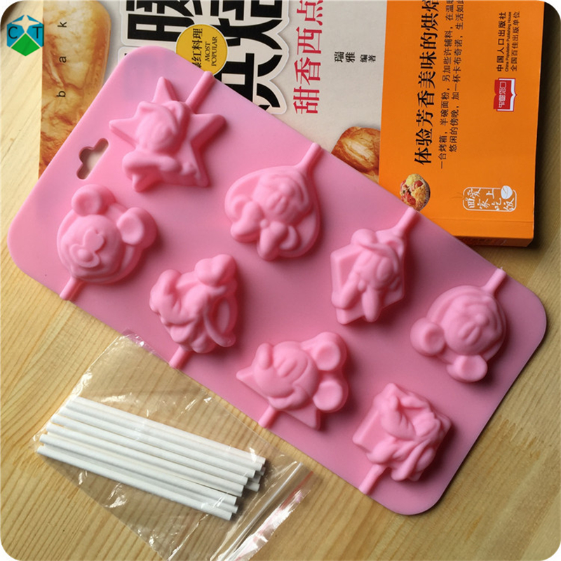 CTBED202 Mice Little Dog Shape Lollipop Mold Cartoon Animal Soft Silicone Cake Mold Chocolate Mold