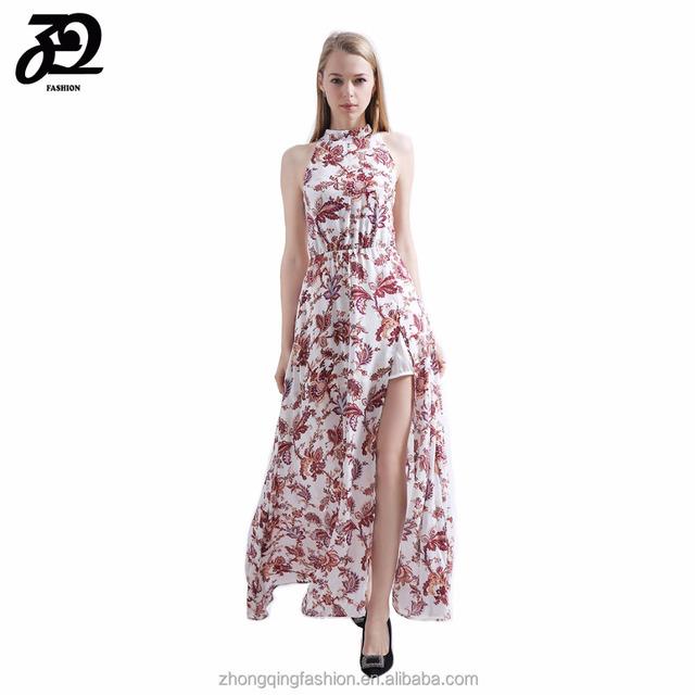 mangas 2018 sexy vestido verano primavera largo sin para floral mujer rosa estampado maxi xfqan6wOf