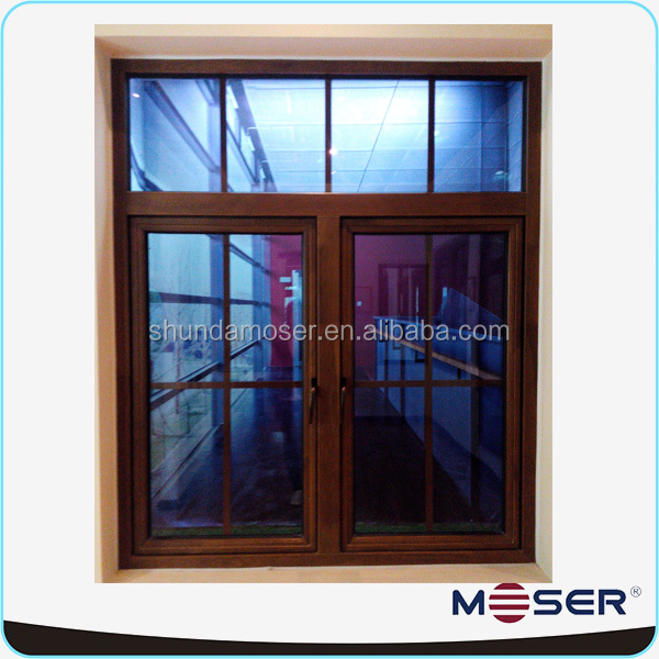 High quality double glazed wood window security grill