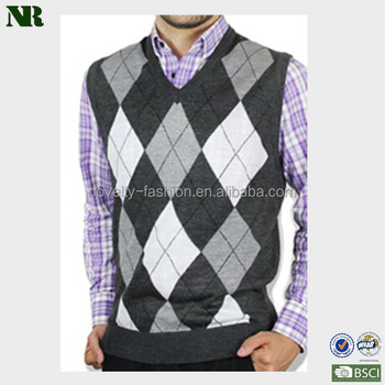 Men's Ocean Argyle V-neck Sweater Vest Soft Men Sweater - Buy Men ...
