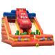 Popular racing car double lanes slide pvc inflatable toy for children