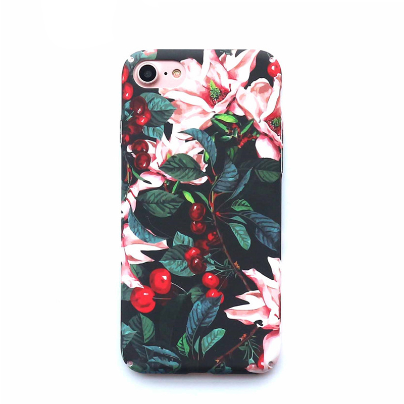 2018 <strong>hot</strong> selling dropshipping cherry flower slim hard plastic mobile phone case for iPhone 6s 7 8 Plus X